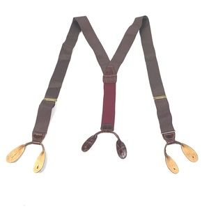 Jos A Bank Maroon Tan Dotted Suspenders Brace 1005
